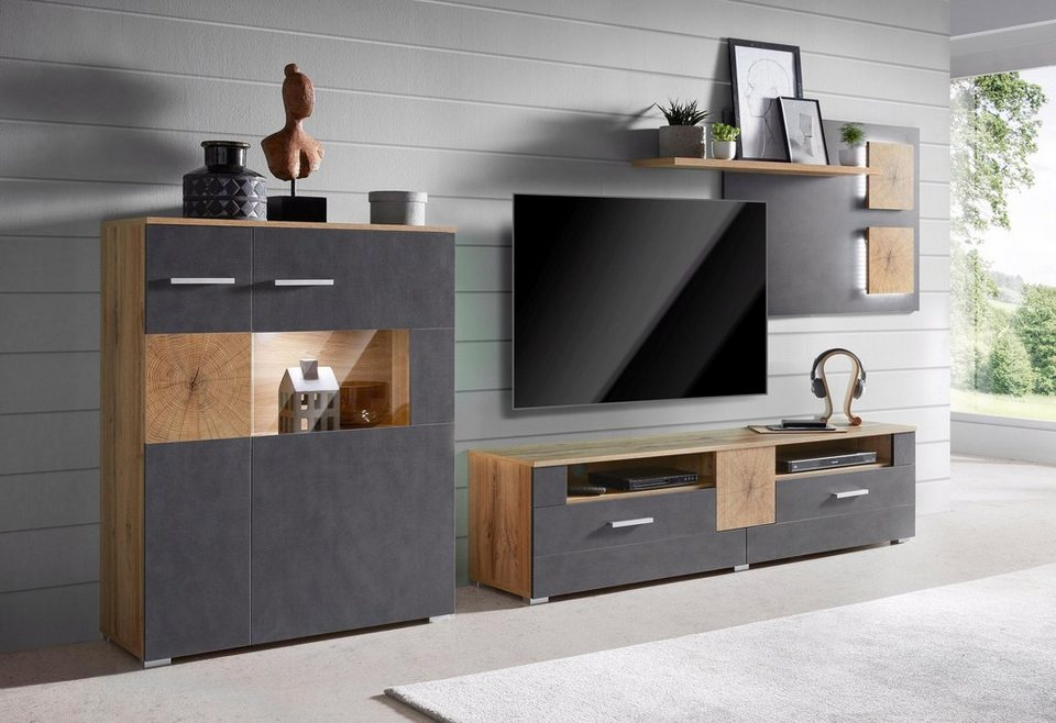 wohnwand wobona 3 tlg online kaufen otto. Black Bedroom Furniture Sets. Home Design Ideas