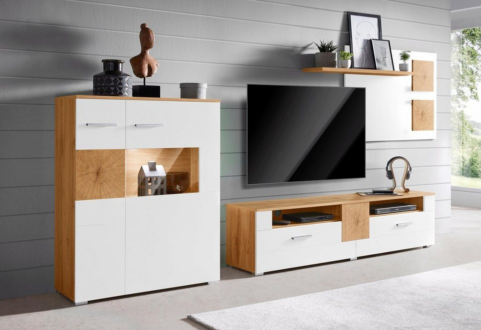 Wohnwand wobona 3 tlg fsc zertifizierter holzwerkstoff online kaufen otto - Otto de wohnwand ...