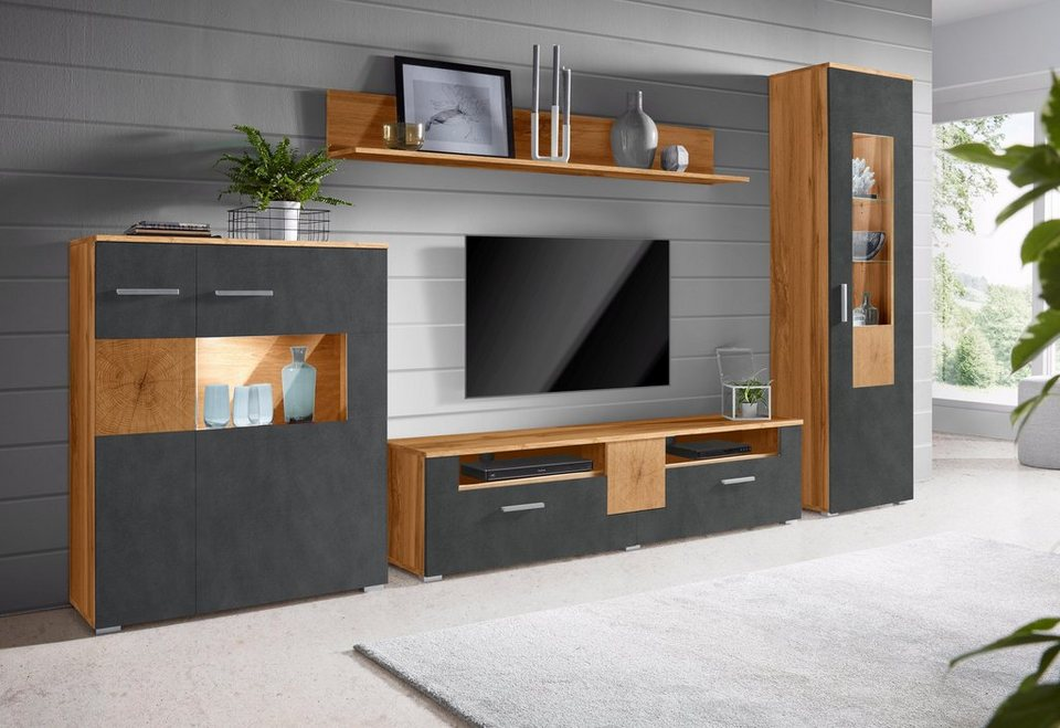 wohnwand wobona 4 tlg online kaufen otto. Black Bedroom Furniture Sets. Home Design Ideas