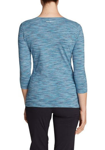 Eddie Bauer Lookout T-shirt With V-neck And 3/4-sleeves - Spacedye