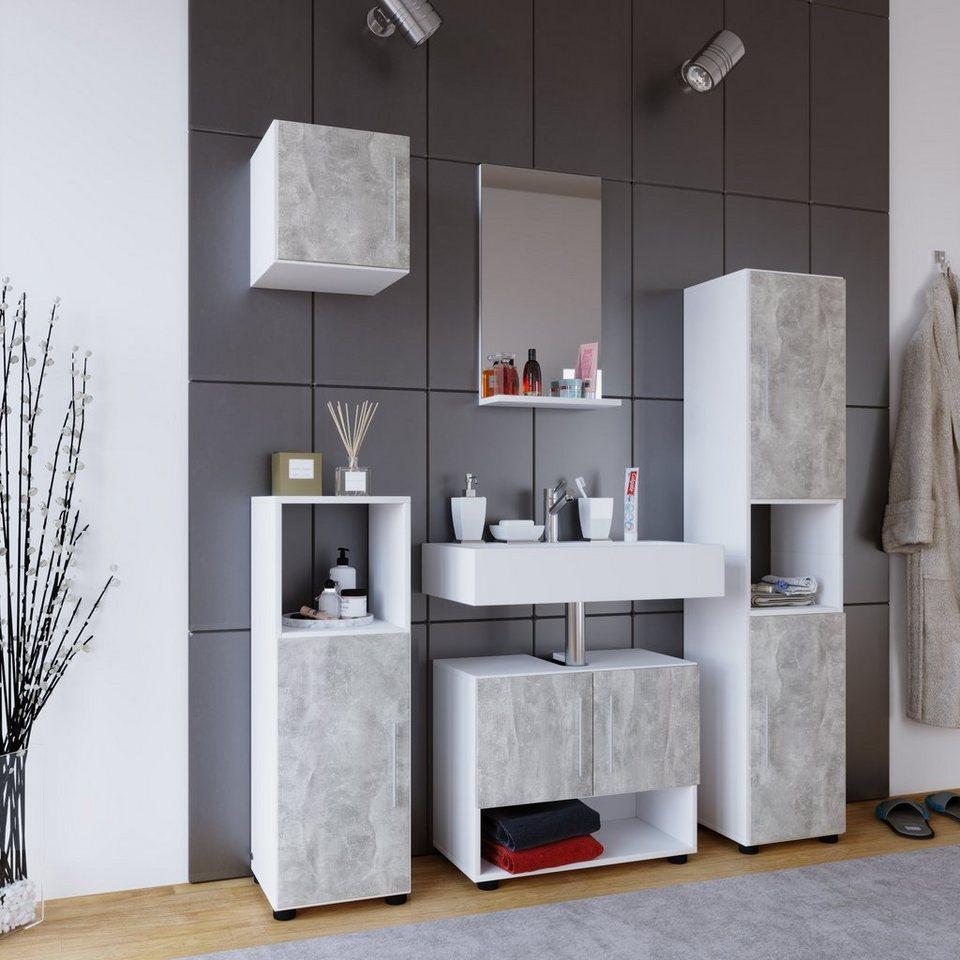 vcm 5 tlg badset hebola l badspiegel mit ablagefl che online kaufen otto. Black Bedroom Furniture Sets. Home Design Ideas