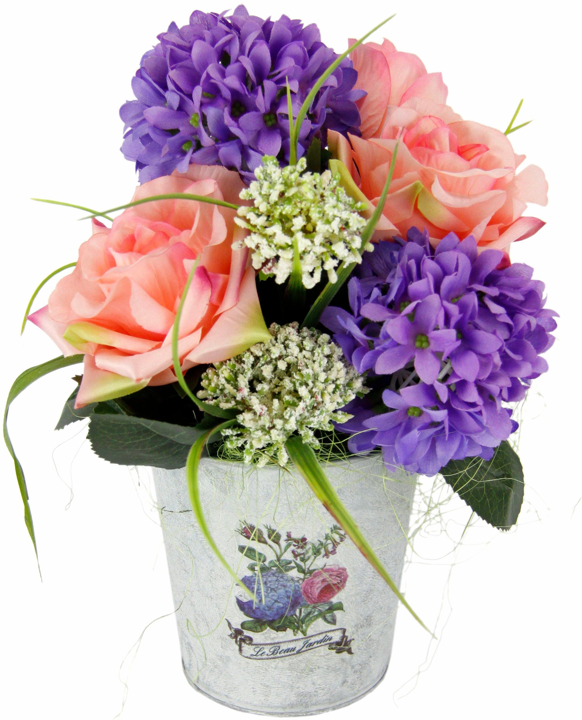 Kunstpflanze »Gesteck Rose / Allium in Zinktopf«