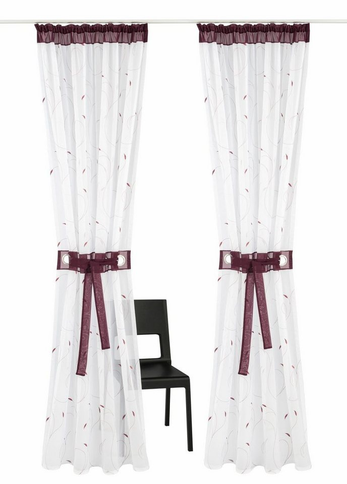gardine jaca home affaire kr uselband 2 st ck online kaufen otto. Black Bedroom Furniture Sets. Home Design Ideas