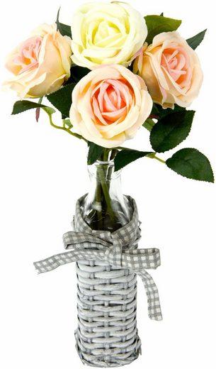 Kunstpflanze »Rosen in Weideglasvase«