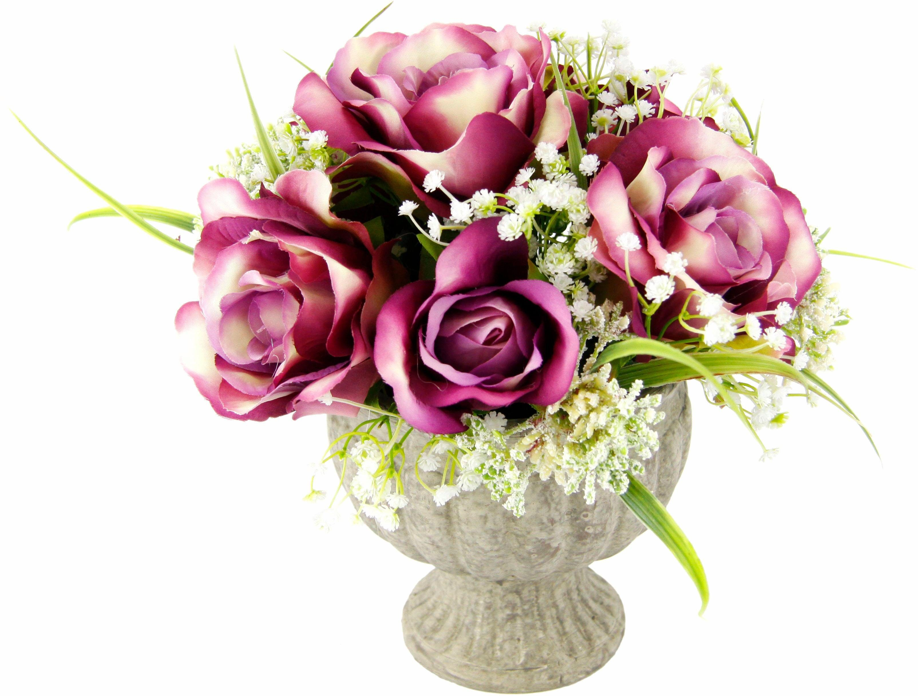 Kunstpflanze »Arrangement Rosen in Pokal«