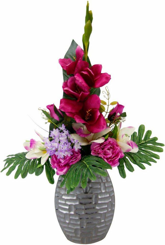 kunstpflanze arrangement gladiole rosen in vase online kaufen otto. Black Bedroom Furniture Sets. Home Design Ideas