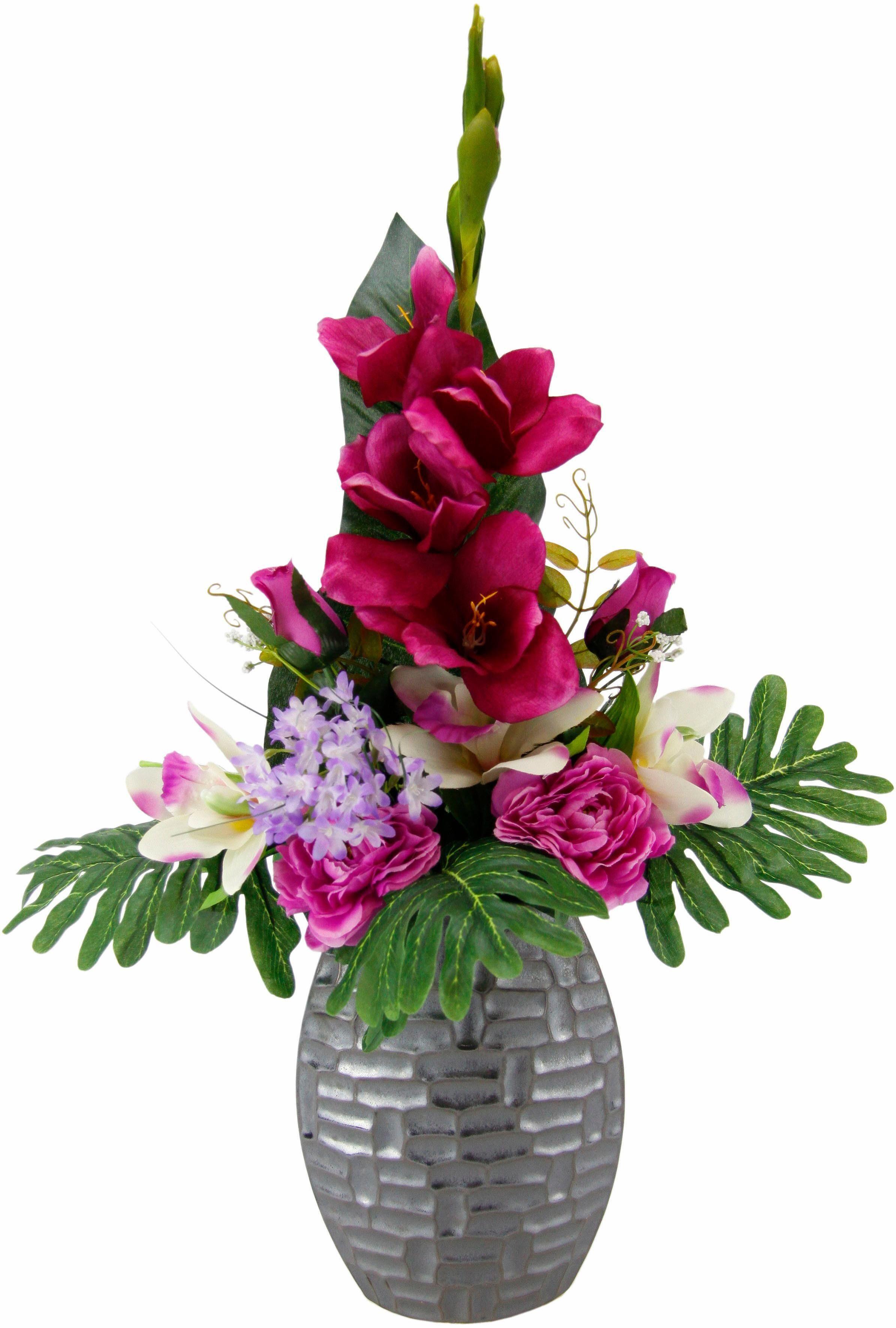 Kunstpflanze »Arrangement Gladiole / Rosen in Vase«