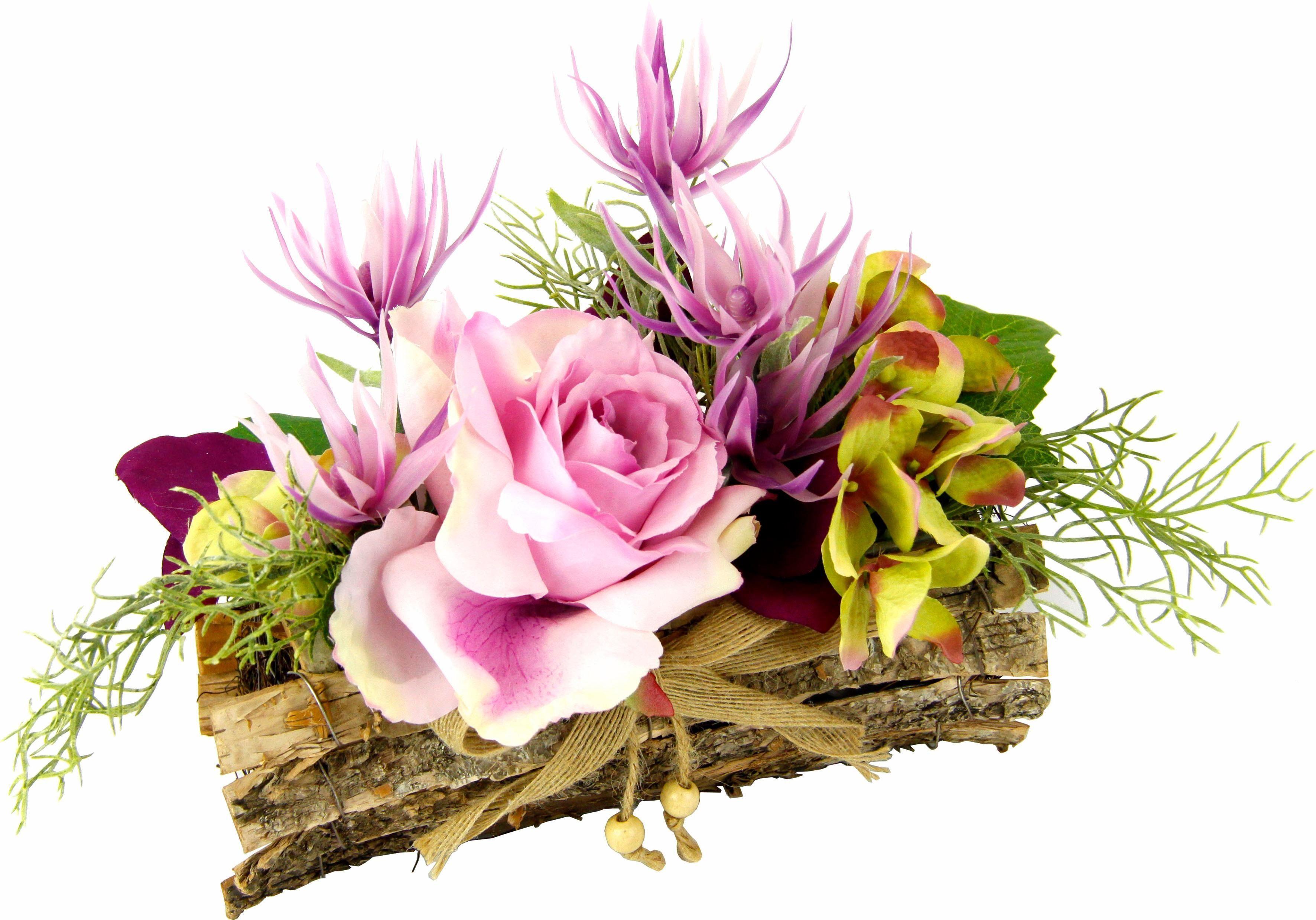 Kunstpflanze »Gesteck Rose in Schale«