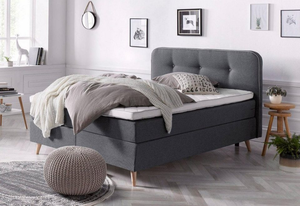 andas boxspringbett seonn mit kederverarbeitung und dekorativen kn pfen am kopfteil in 2. Black Bedroom Furniture Sets. Home Design Ideas