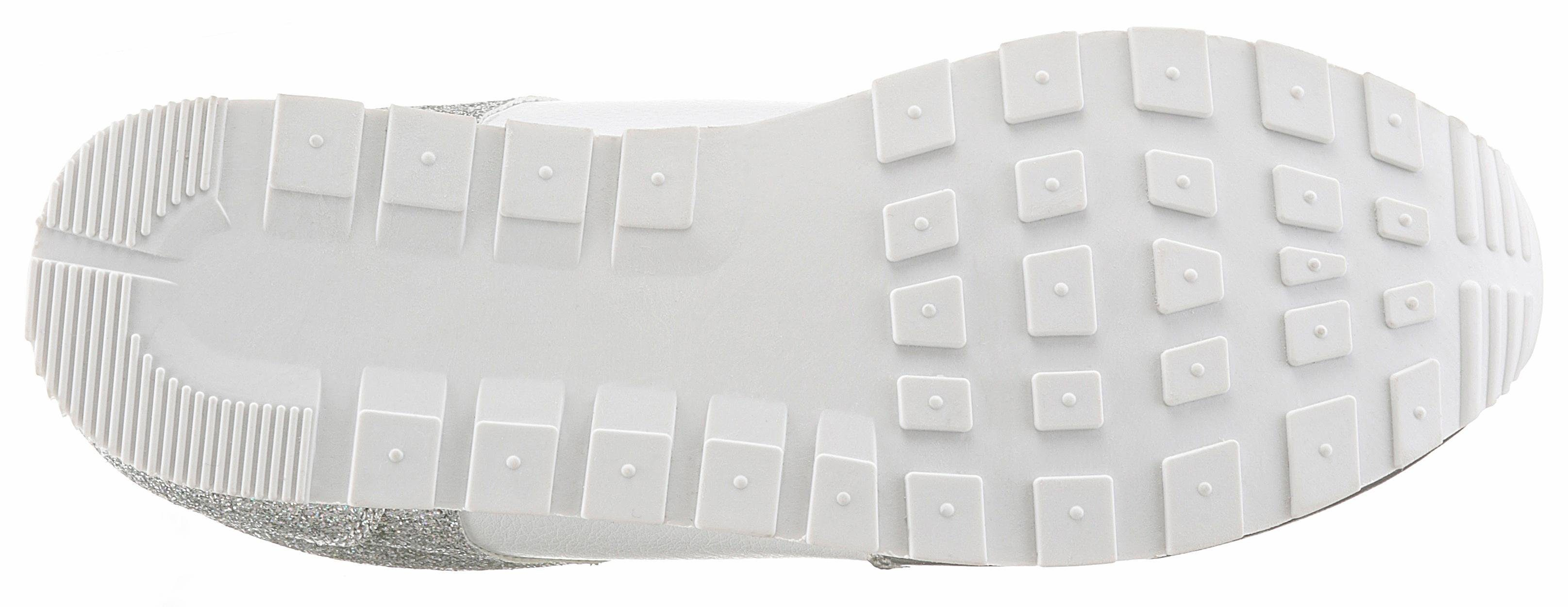 CITY WALK Sneaker, mit Metallic-Einsatz und Glitter-Details online kaufen  silberfarben-weiß