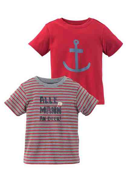 KIDSWORLD T-Shirt (Packung, 2 tlg), uni und gestreift mit Druck