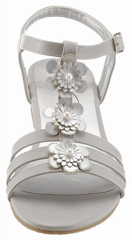 CITY WALK Riemchensandale Blüten mit Perlenbesatz