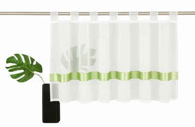 Scheibengardine »EBY«, my home, Schlaufen (1 Stück), Fertiggardine, Mit farbigem Satinband, transparent