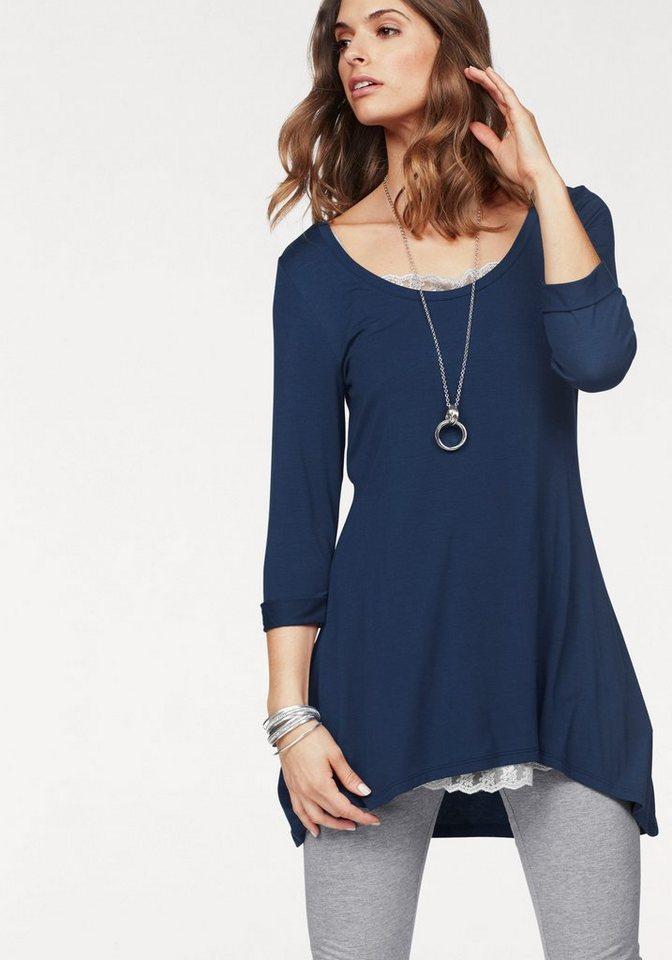 Damen Boysen s Vokuhila-Shirt in langer ausgestellter Form blau | 08698826258730