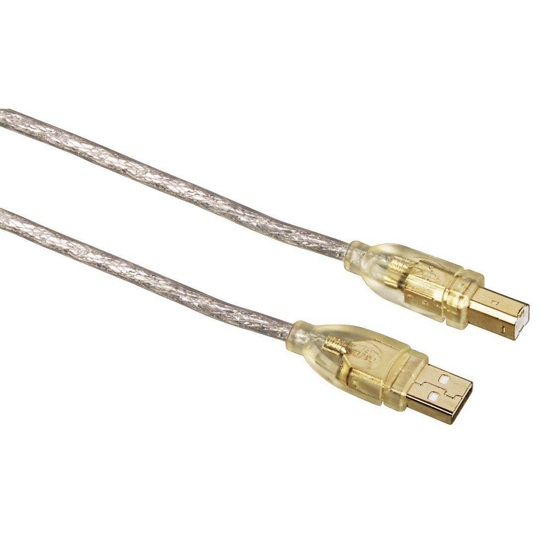 Hama USB-2.0-Kabel, vergoldet, doppelt geschirmt, Transparent, 1,80