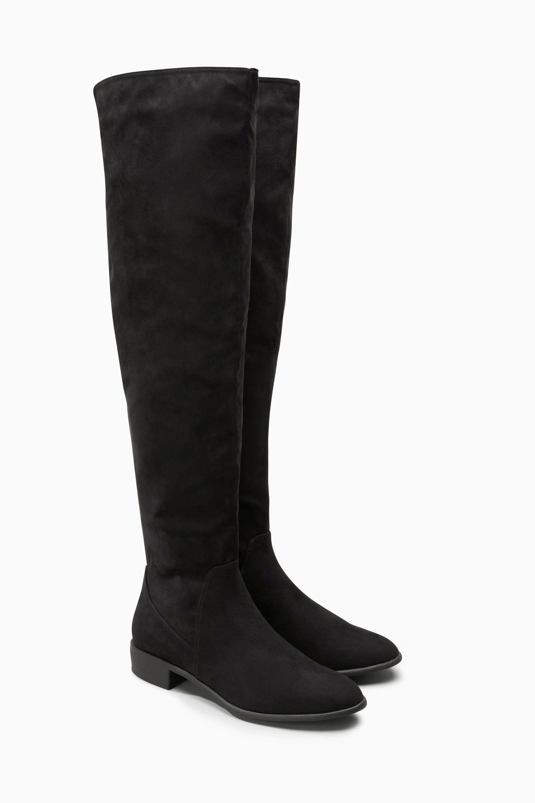 Flache Overknee-Stiefel, schwarz, Black Next