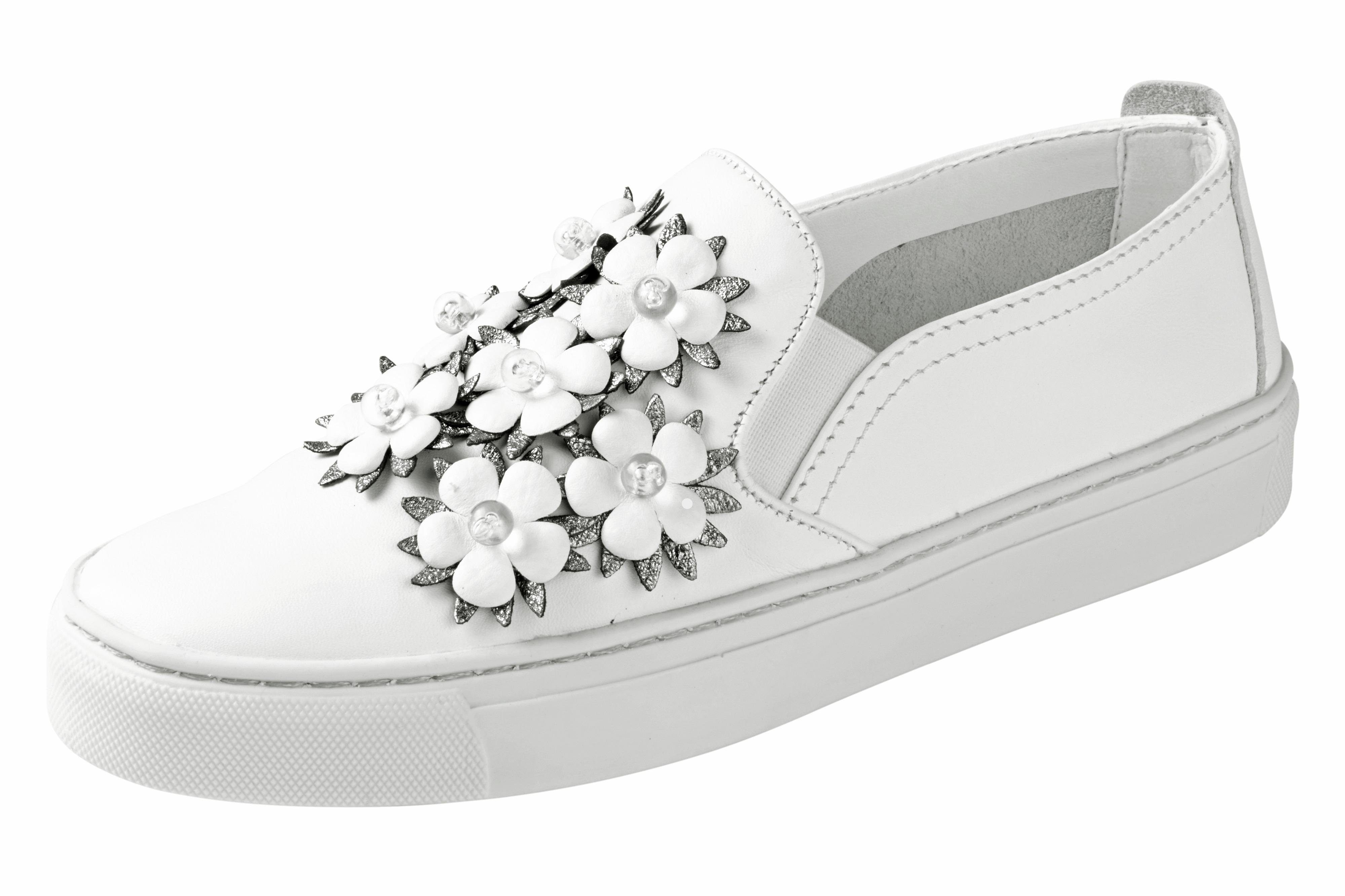 Flexx Slipper mit Blüten-Applikation online kaufen  weiß