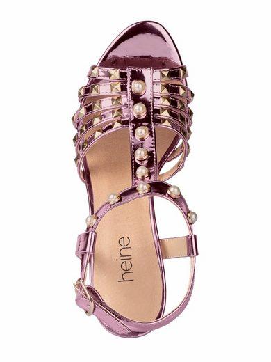 Heine Sandalette mit Nieten und Perlen