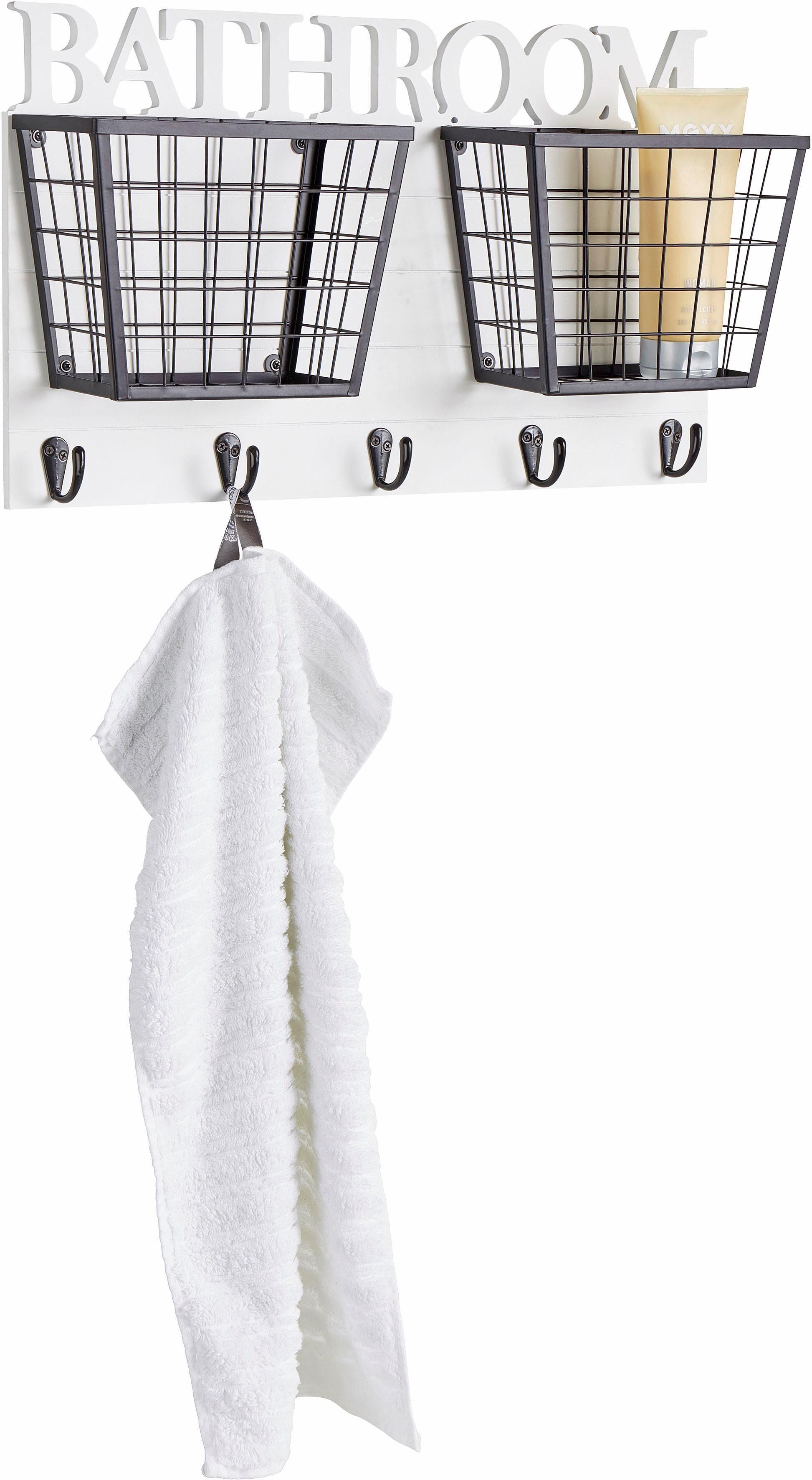 Home affaire Badregal »Bathroom«, mit 2 Körben und Haken