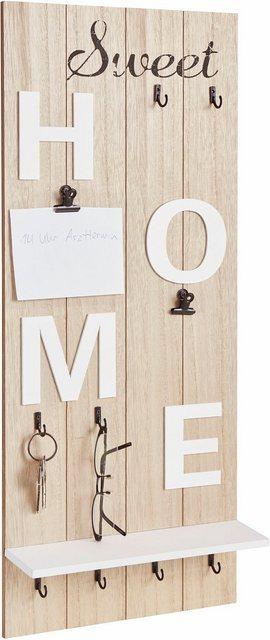 Garderobenleisten und Haken - Home affaire Garderobenpaneel »Sweet Home«, Höhe 70 cm  - Onlineshop OTTO
