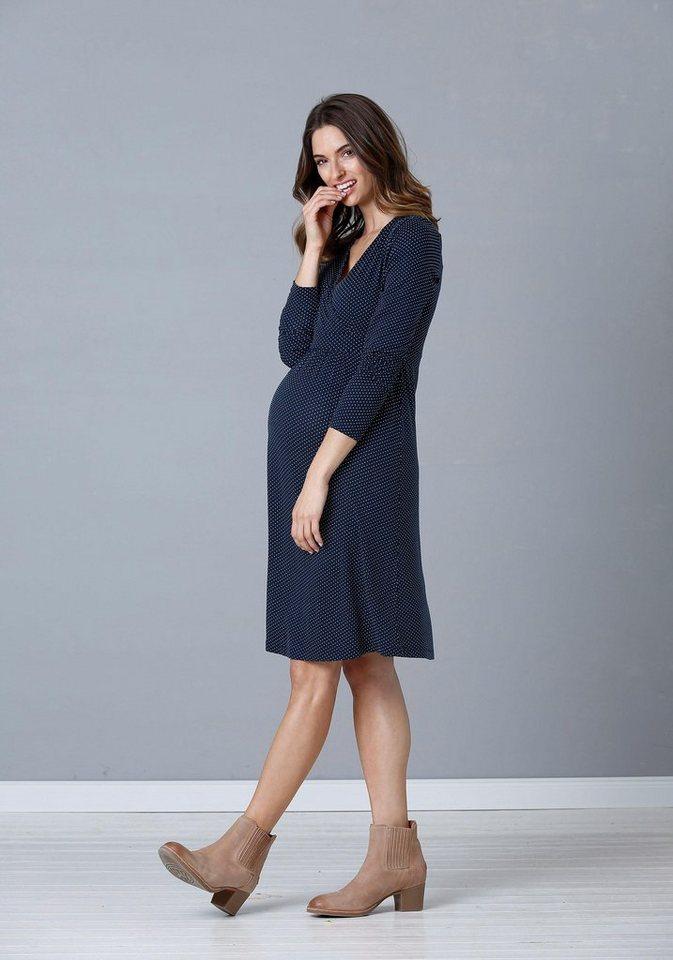 Damen Neun Monate  Umstandskleid mit Pünktchen blau | 08696798031337