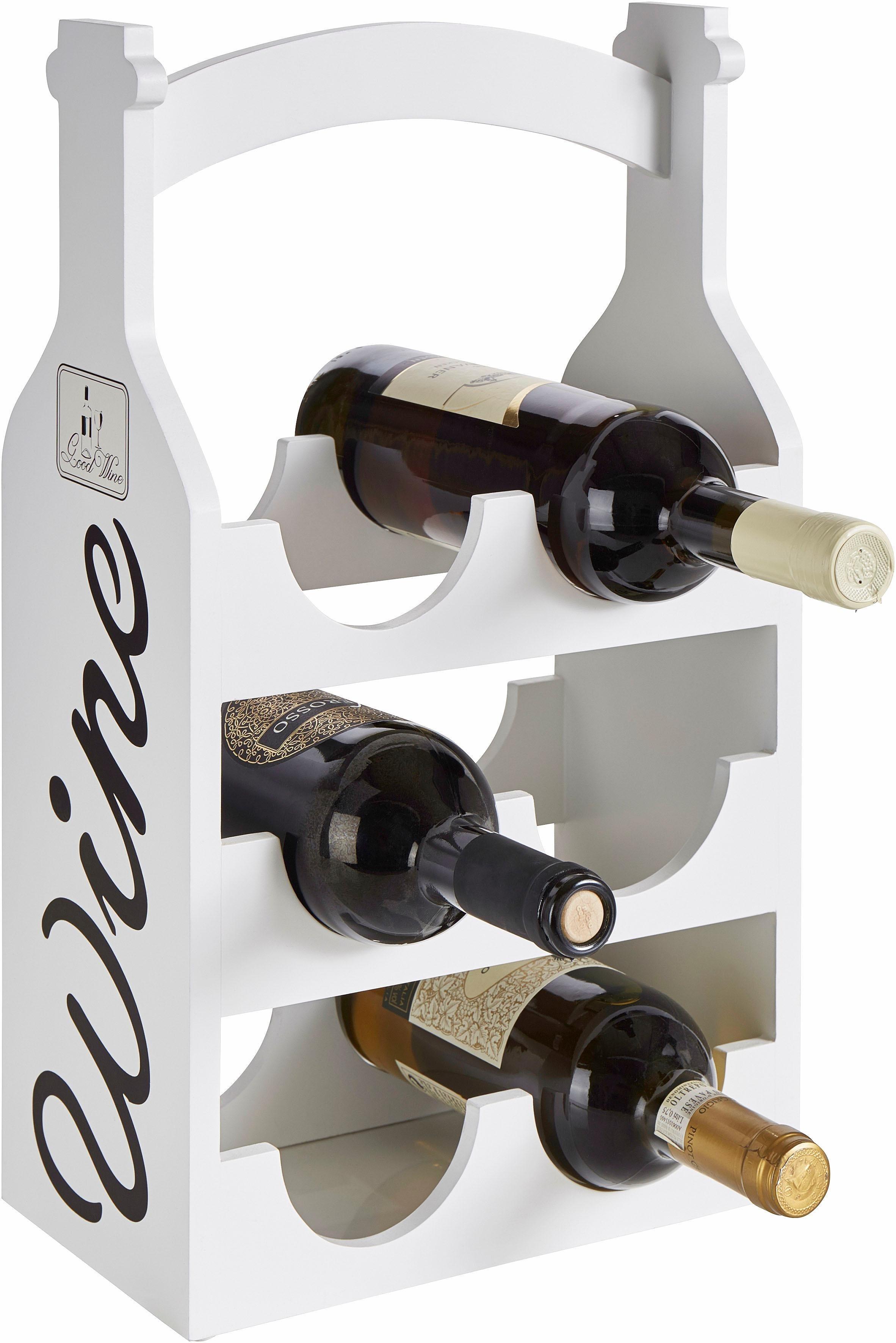 Home affaire Weinregal für 6 Flaschen | Küche und Esszimmer > Küchenregale > Weinregale | Cremeweiß - Print | Home affaire