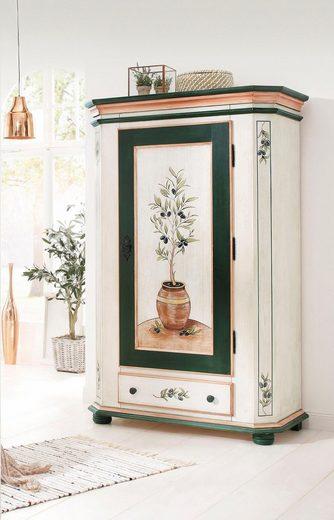 Premium collection by Home affaire Garderobenschrank »Olive« mit schönen Ornamenten und einem besonderen handgemalten Olivenbaum auf der Türfront