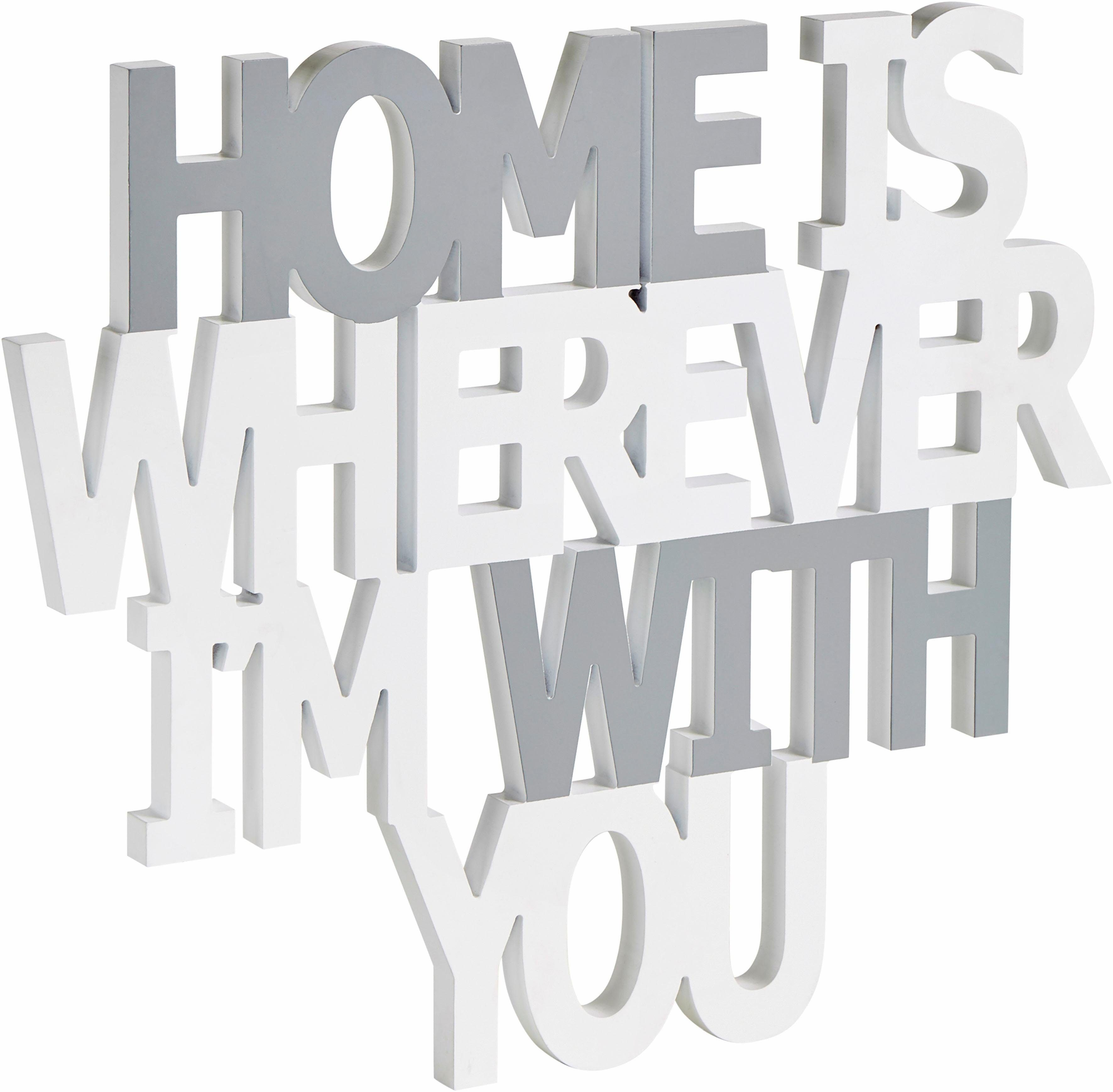 Home affaire Wanddeko Spruch »Home is wherever I´m with you«