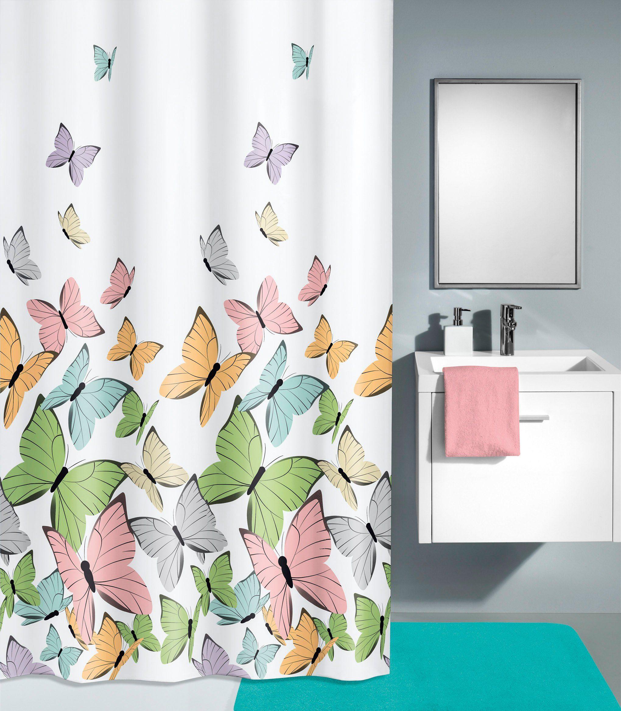 KLEINE WOLKE Duschvorhang »Butterflies«, Breite 180 cm