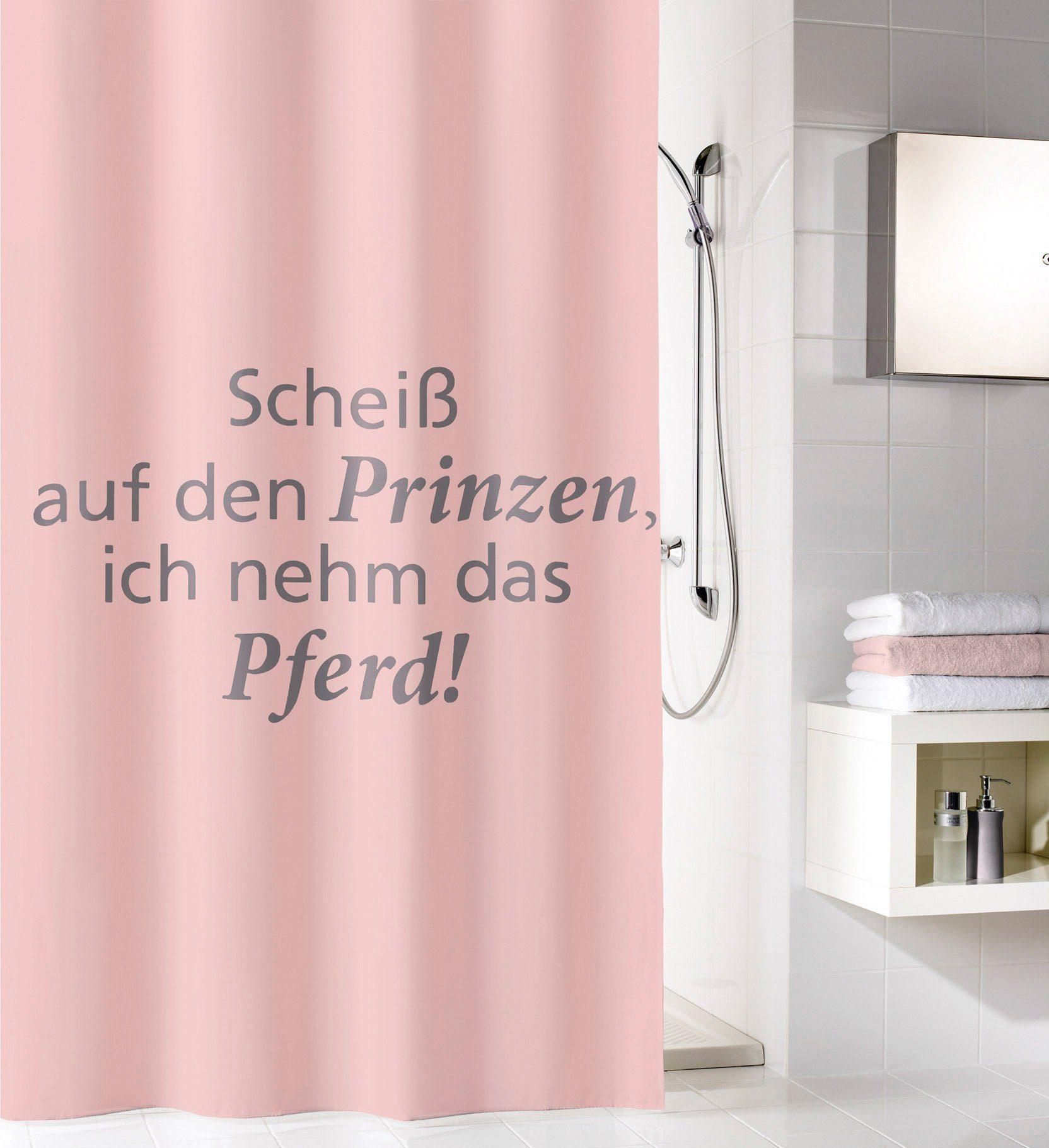 KLEINE WOLKE Duschvorhang »Pastellrose mit Spruch«