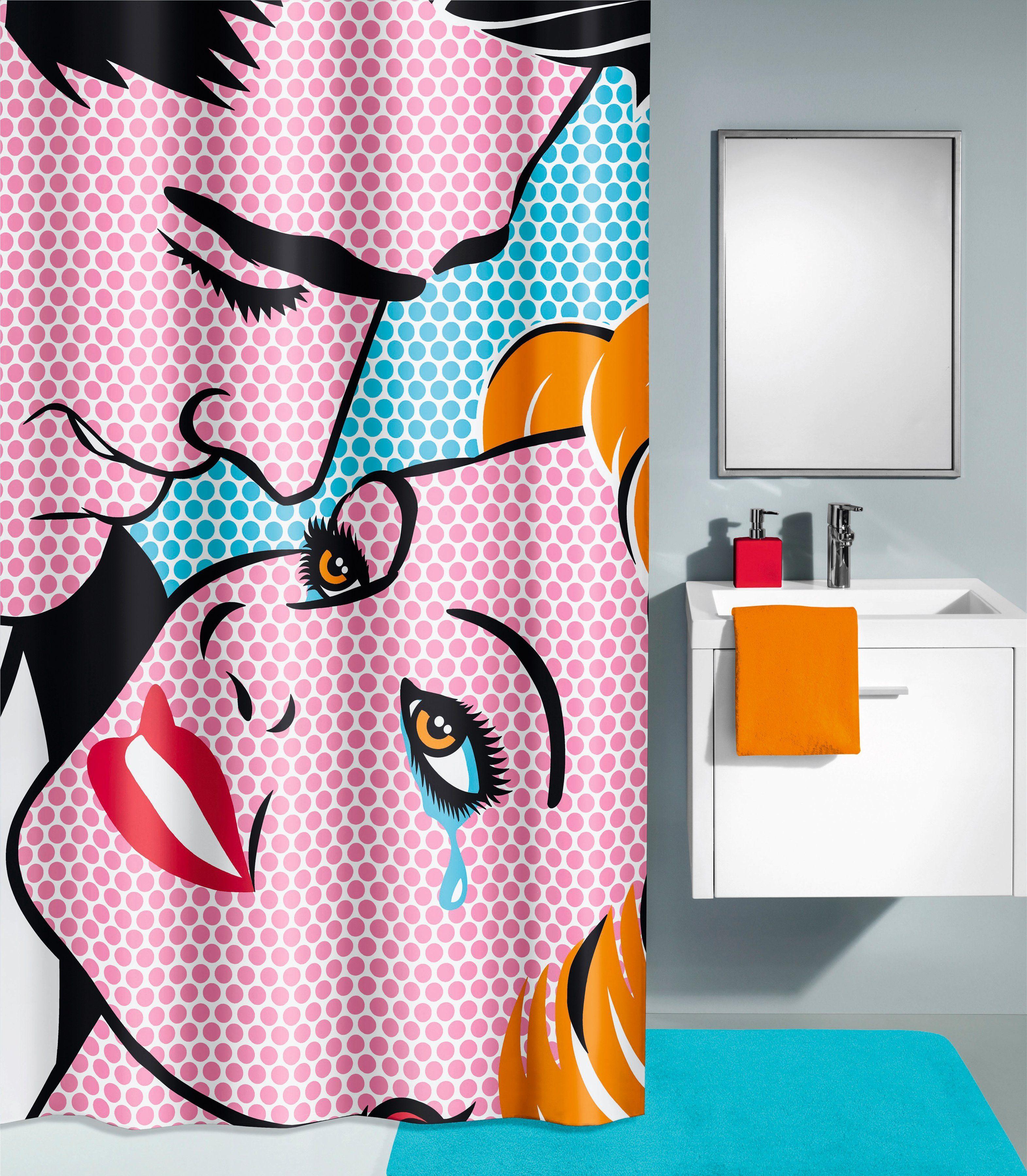 KLEINE WOLKE Duschvorhang »Kiss«, Breite 180 cm