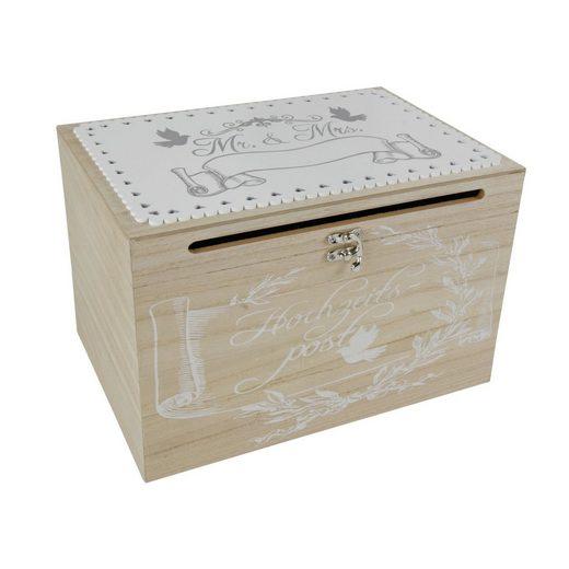 dynamic24 Holzkiste (1 Stück), Mr & Mrs Holz Truhe Kartenbox Hochzeit Geldbox Briefbox Glückwunsch Geschenk Box
