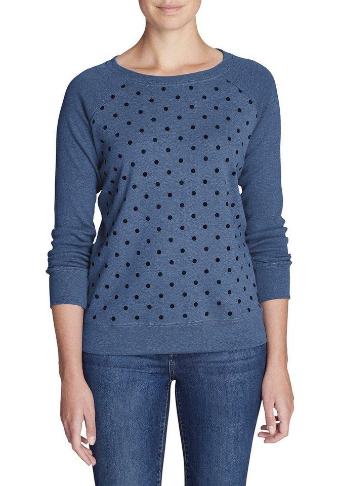 Damen Eddie Bauer  Sweatshirt Legend Wash Sweatshirt – Rundhals – Gepunktet blau | 04057682154213