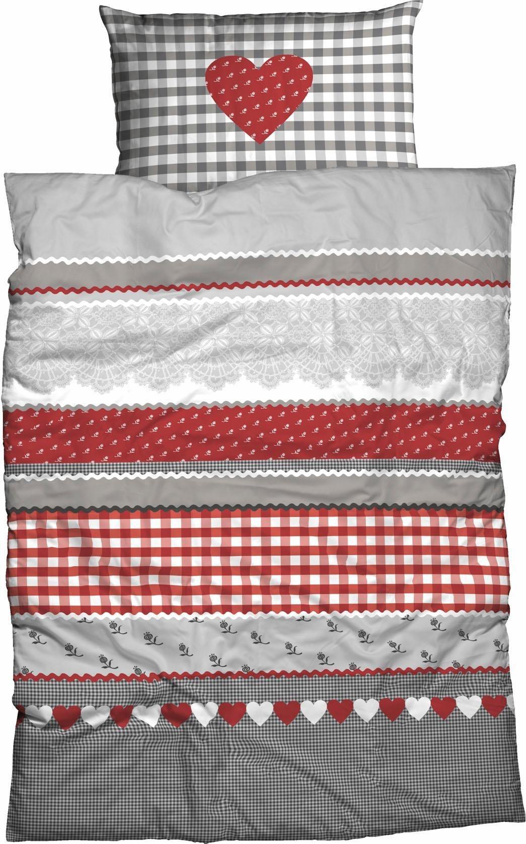 Bettwäsche »Herz-Karo«, , mit niedlichem Herz-Karo Design