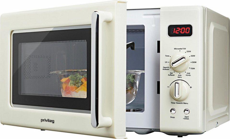 Privileg Mikrowelle im Retro-Design, Mikrowelle, Grill, 1000 W, 8 ...