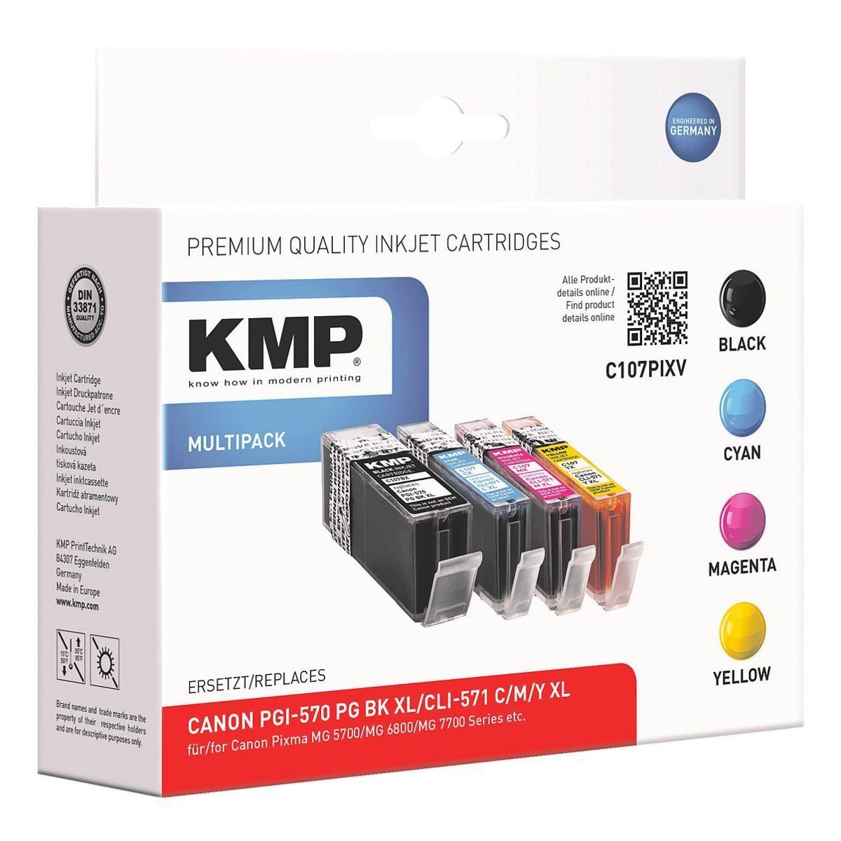 KMP Tintenpatronen-Set ersetzt Canon »PGI-570 XL BK / CLI-57...