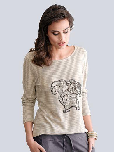 Alba Moda Streifenshirt mit trendiger Tierapplikation