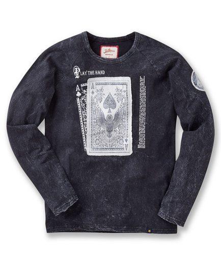 Joe Browns 2-in-1-Pullover Joe Browns Men's acid wash long sleeved top with playing card print, Mit langen Ärmeln