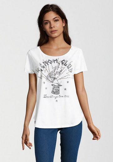 Replay T-Shirt mit Nieten, Logo-Stickerei mit Metallic-Garn am Ausschnitt