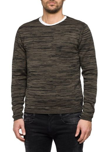 Replay Strickpullover in Melange-Optik