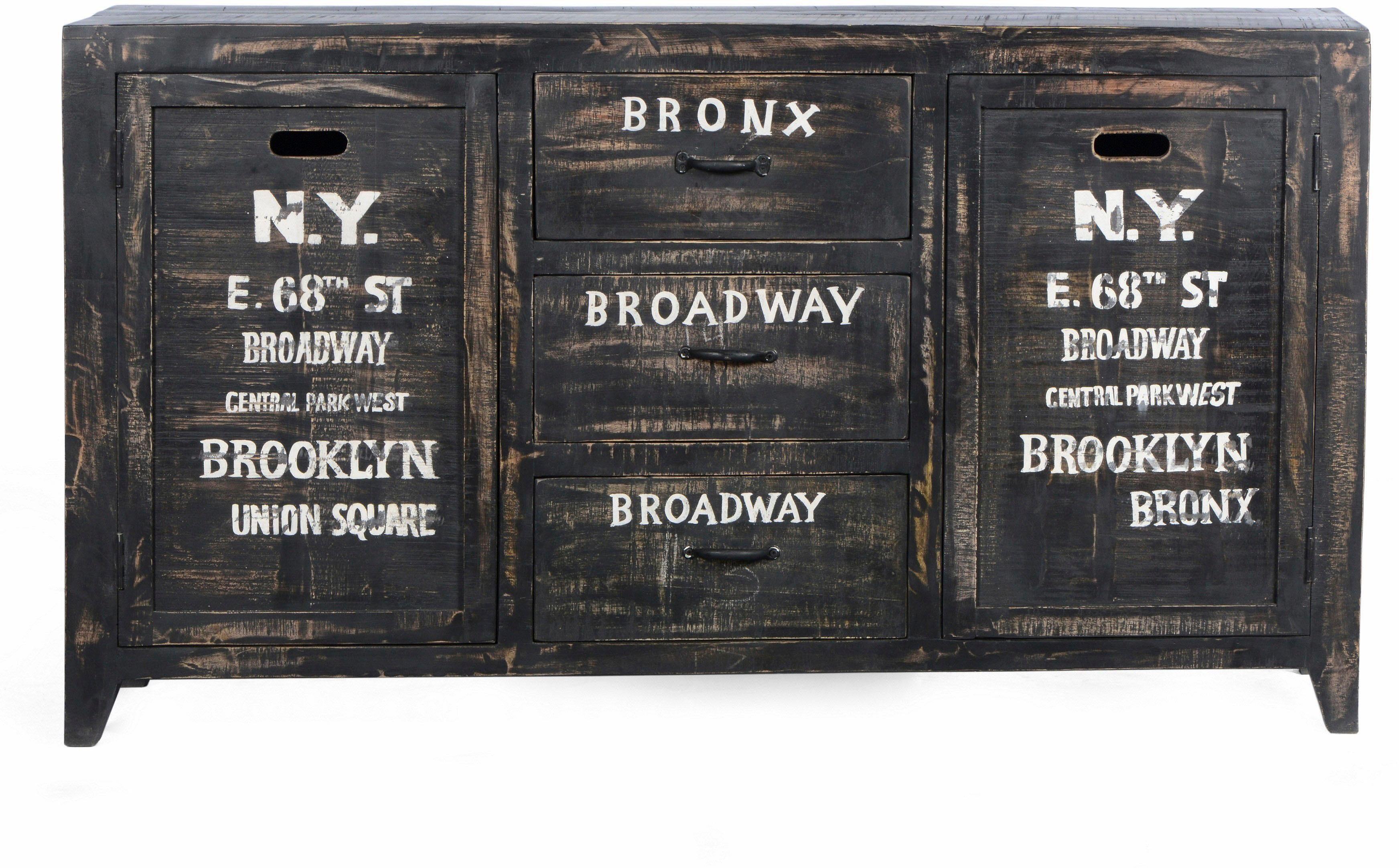 Home affaire Sideboard mit zwei Türen und drei Schubladen »Bronx«, Breite 90 cm