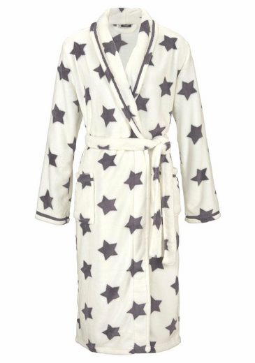 Vivance Dreams Long Dressing Gown In Ecru With Stars