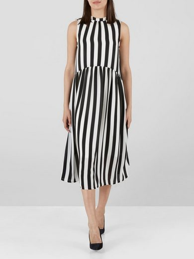 Yas Striped Sleeveless Stehkragen- Midi Dress
