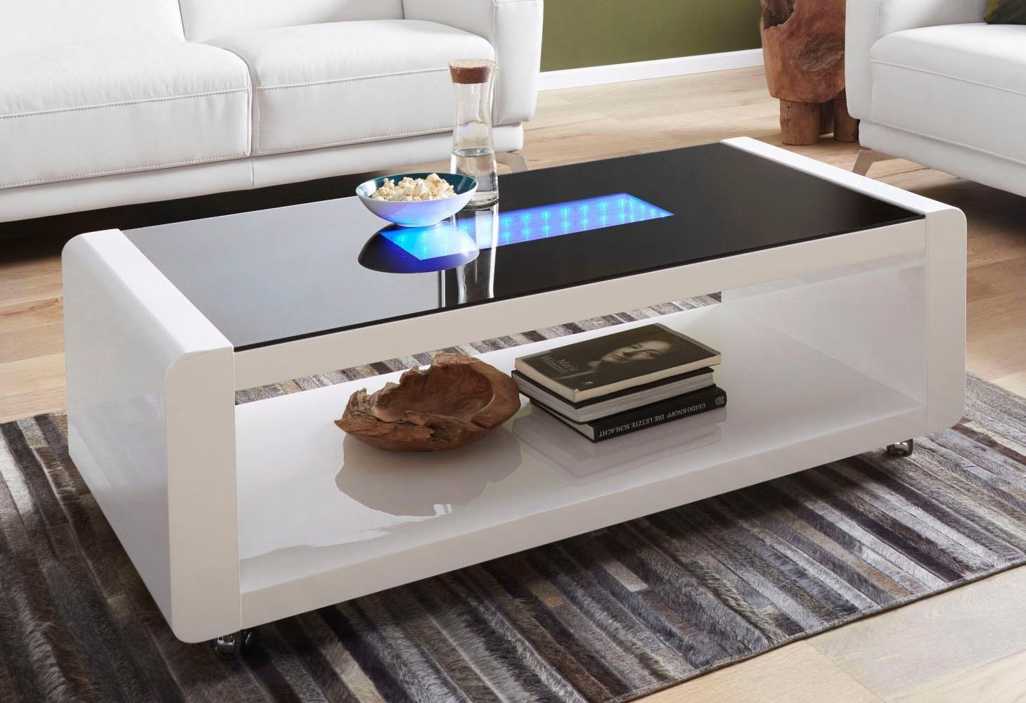 Homexperts Couchtisch mit 3D-LED-Beleuchtung, auf Rollen