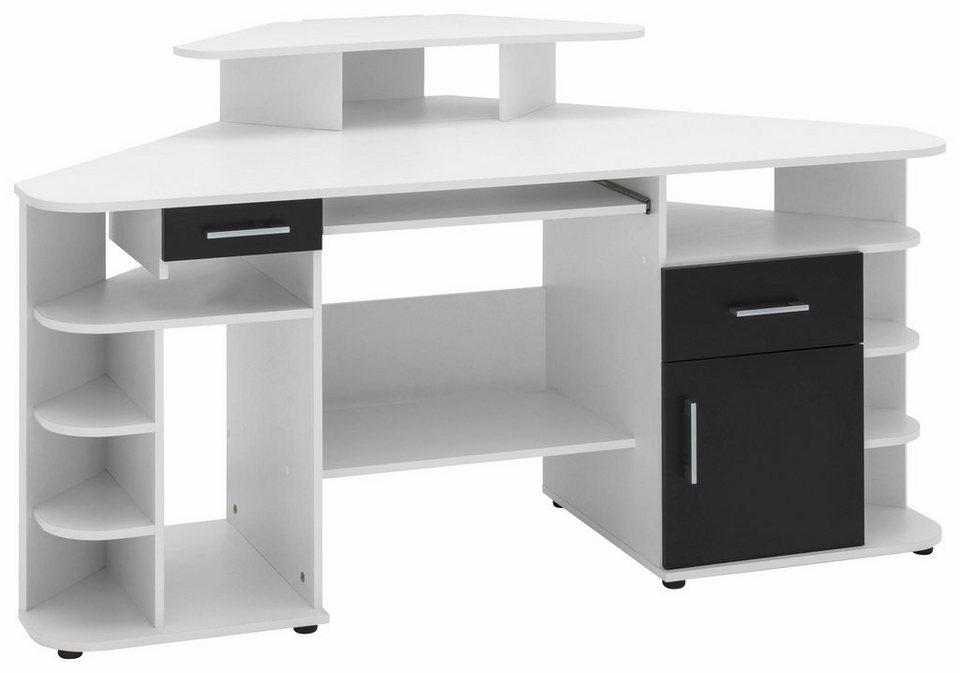 Eck Schreibtisch Flint Mit 2 Schubkästen Kaufen Otto