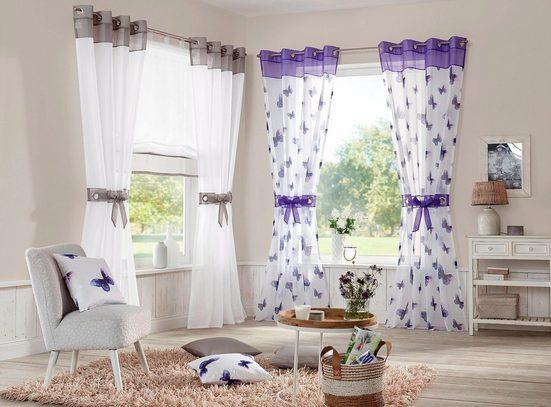 Gardine »Villars«, my home, Ösen (2 Stück), Vorhang, Fertiggardine, inkl. 2 Raffhalter, transparent