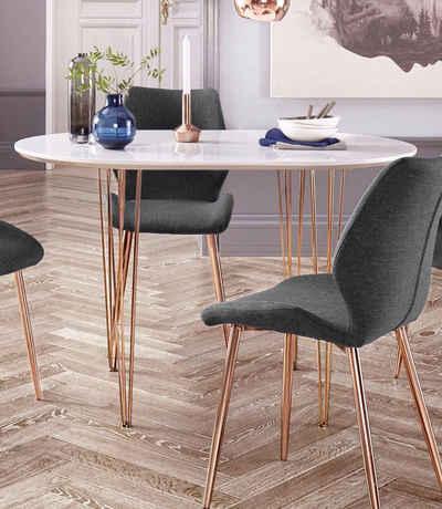 Esstisch mit kupferfarbenen Beinen, Breite 120 oder 160 cm Sale Angebote Drebkau