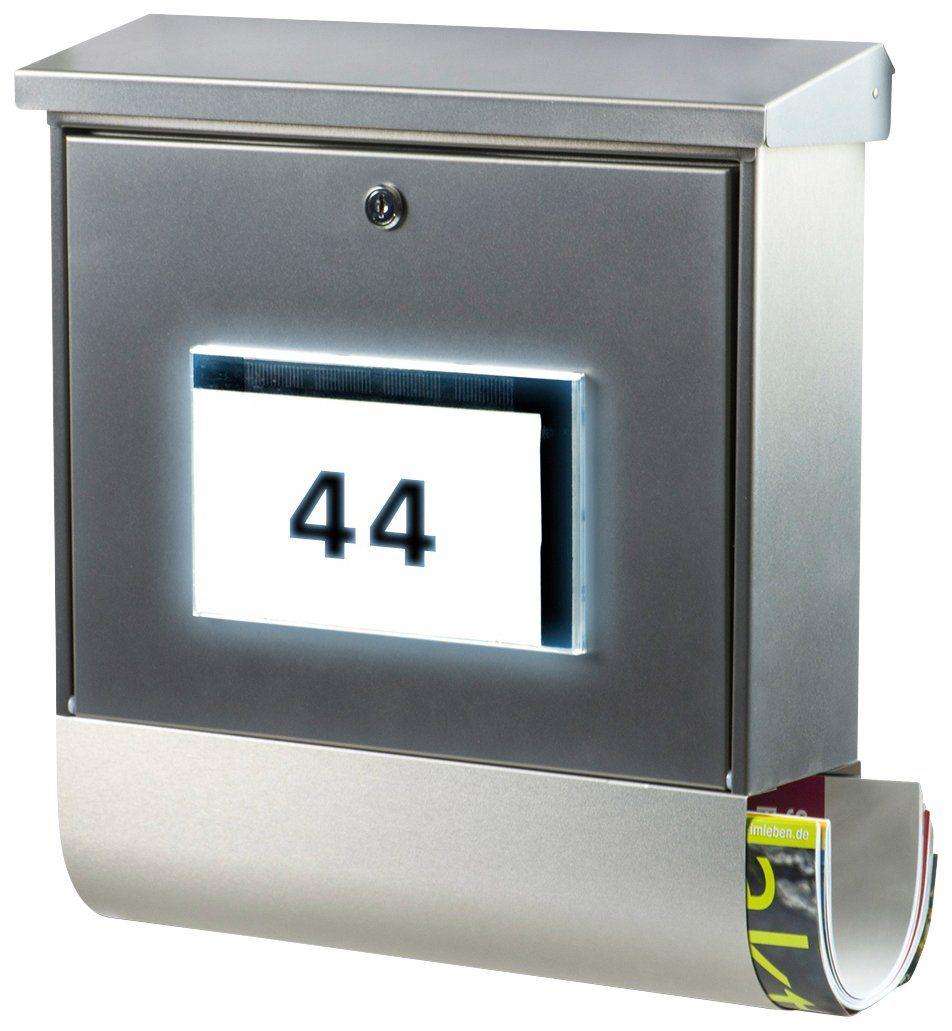BURG WÄCHTER Briefkasten »Malaga 4400 Si«, Solar-Briefkasten