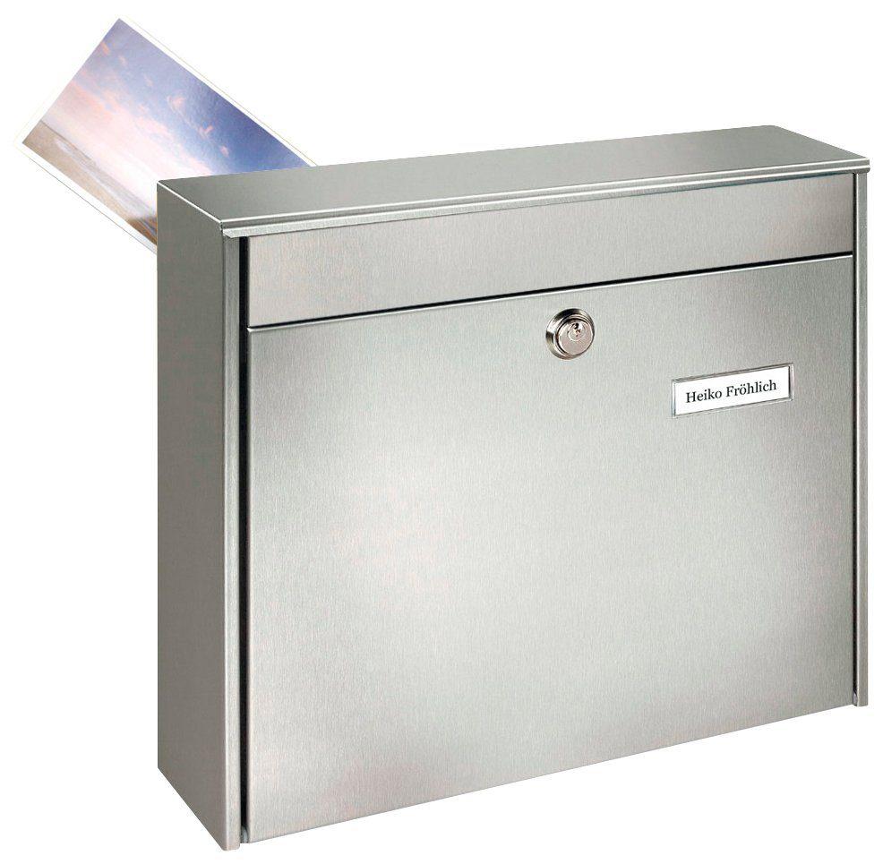 BURG WÄCHTER Briefkasten »Borkum 3878 Ni«, Edelstahl-Zaunbriefkasten