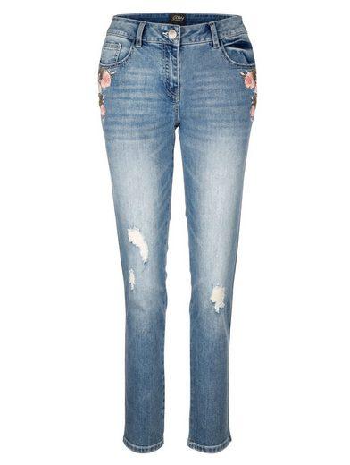 Amy Vermont Jeans mit Blütenstickerei